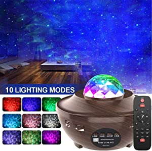 Star Projector,Amouhom Starlight Projector for Kids Baby Led Night Light Projector with Bluetooth Speaker for Bedroom Decor Music Ocean Wave Projector Gift for Girl boy Bedroom Living Ceiling