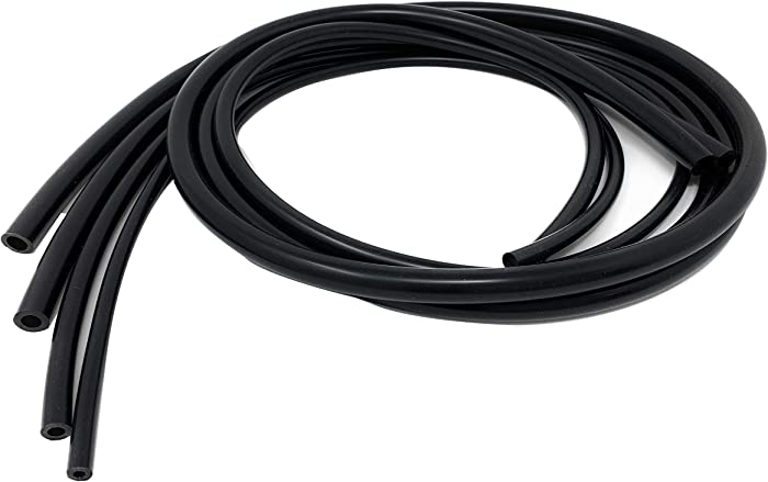 Universal 4mm/6mm/8mm/10mm Inner Diameter High Performance Automotive Silicone Vacuum Tubing Hose line Kit (Black)