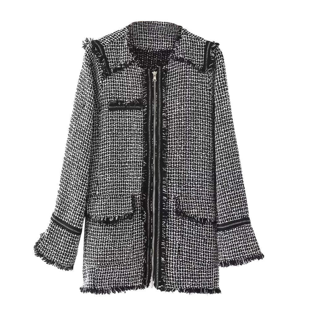 Yuehen Fashoin Zipper Coat Bomber Casaco Feminino Plaid Long ...
