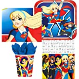 Amscan DC Comics Superhero Girl Birthday Complete Party Tableware Pack for 16, Dessert