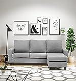 Abakus Direct | Capri Corner Sofa Left or Right, Chocolate Brown, Dark Grey, Light Grey or Black (Light Grey)