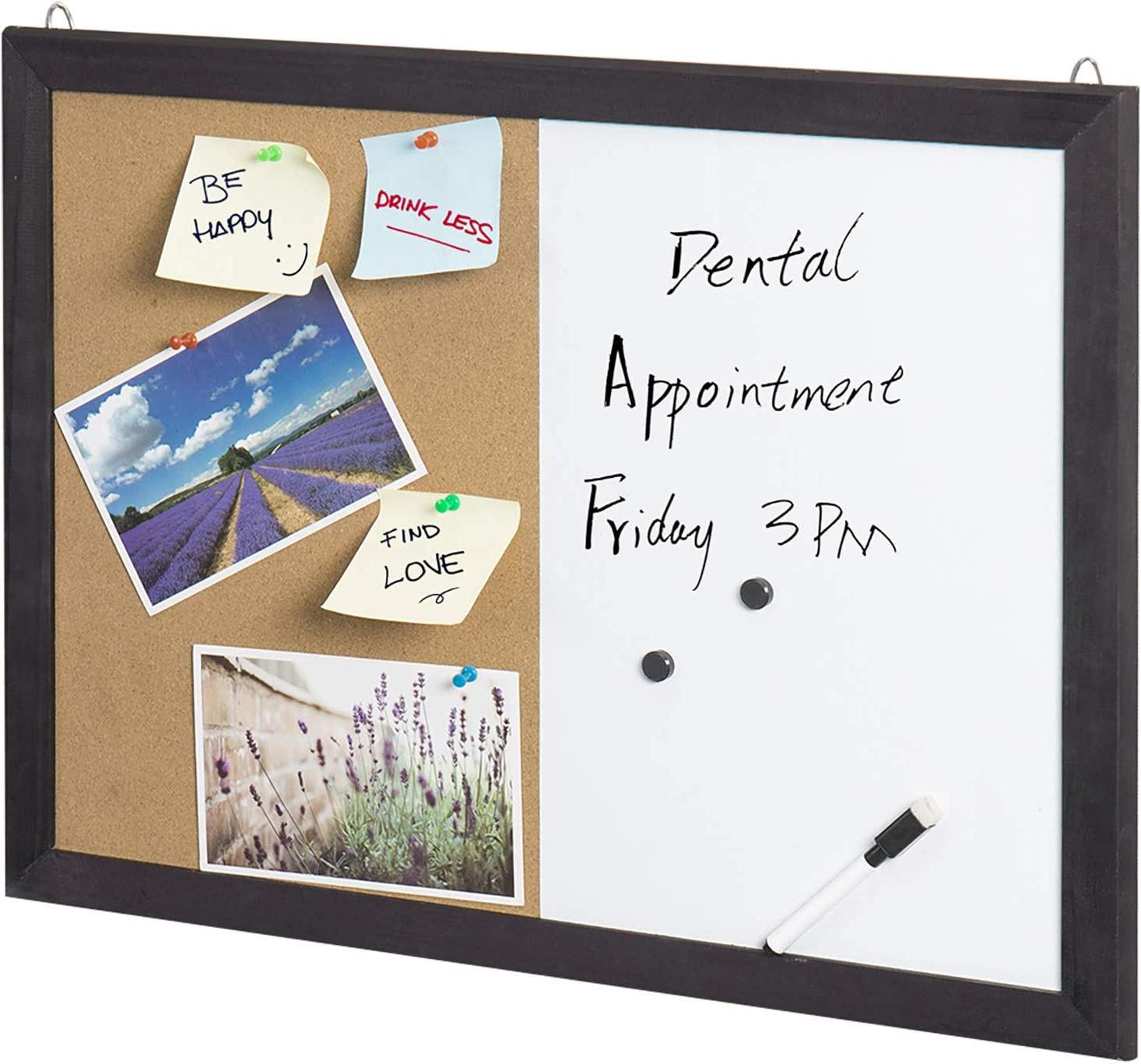 Amazon Com 2 In 1 Black Wood Framed Wall Mounted Combination Bulletin Cork Board Magnetic Whiteboard Mygift Office Products