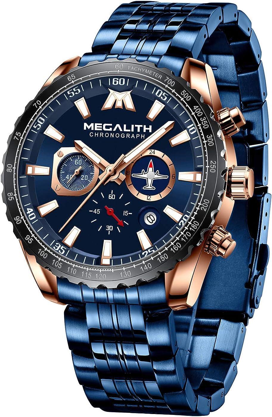 MEGALITH Relojes Hombre Relojes Grandes de Pulsera Militar Impermeable Cronografo Acero Inoxidable Reloj Hombres Elegante Diseño Analogico: Amazon.es: Relojes