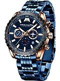 MEGALITH Relojes Hombre Militar Acero Inoxidable Relojes Grandes Hombre Cronografo Elegante Analogico Reloj de Pulsera…