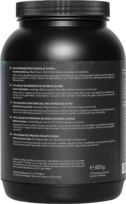 nu3 Proteína de arroz   800g de fórmula sabor neutral   80% (24g) de proteína vegetal   Polvo para batido proteico sin lactosa y libre de gluten   Sin ...