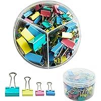 DDSTG Foldback Clips 15/19/25mm Assorted Colours Paper Clamps Binder - 82 Pack