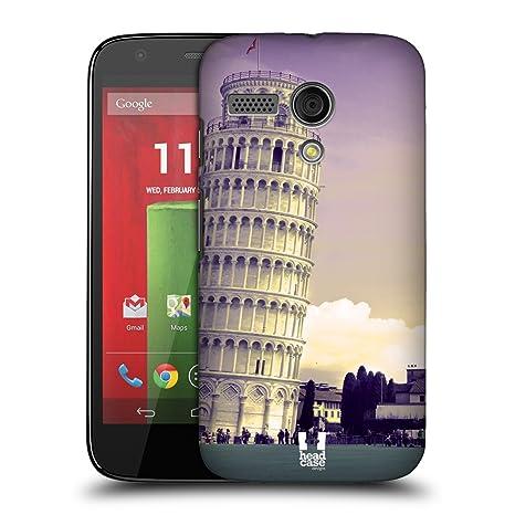 Head Case Designs – Carcasa de calaveras carcasa rígida para Motorola teléfonos, plástico, Leaning Tower Of Pisa Italy, Motorola Moto G (1st Gen)