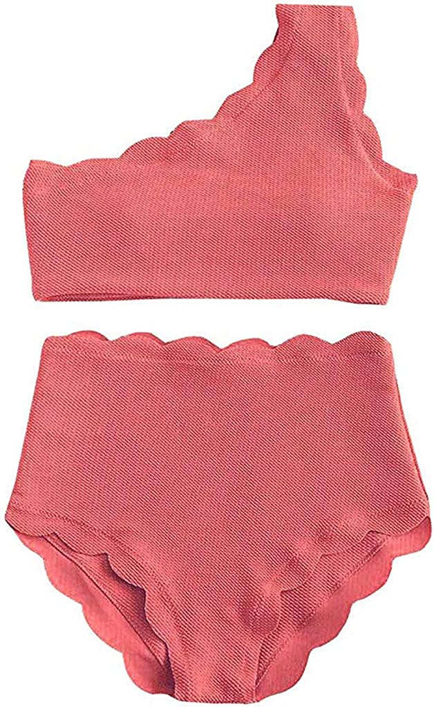 AuiforღTraje de baño de Cintura Alta para Mujer, de Dos Piezas, Festoneado, Delgado, de un Solo Hombro Bikini