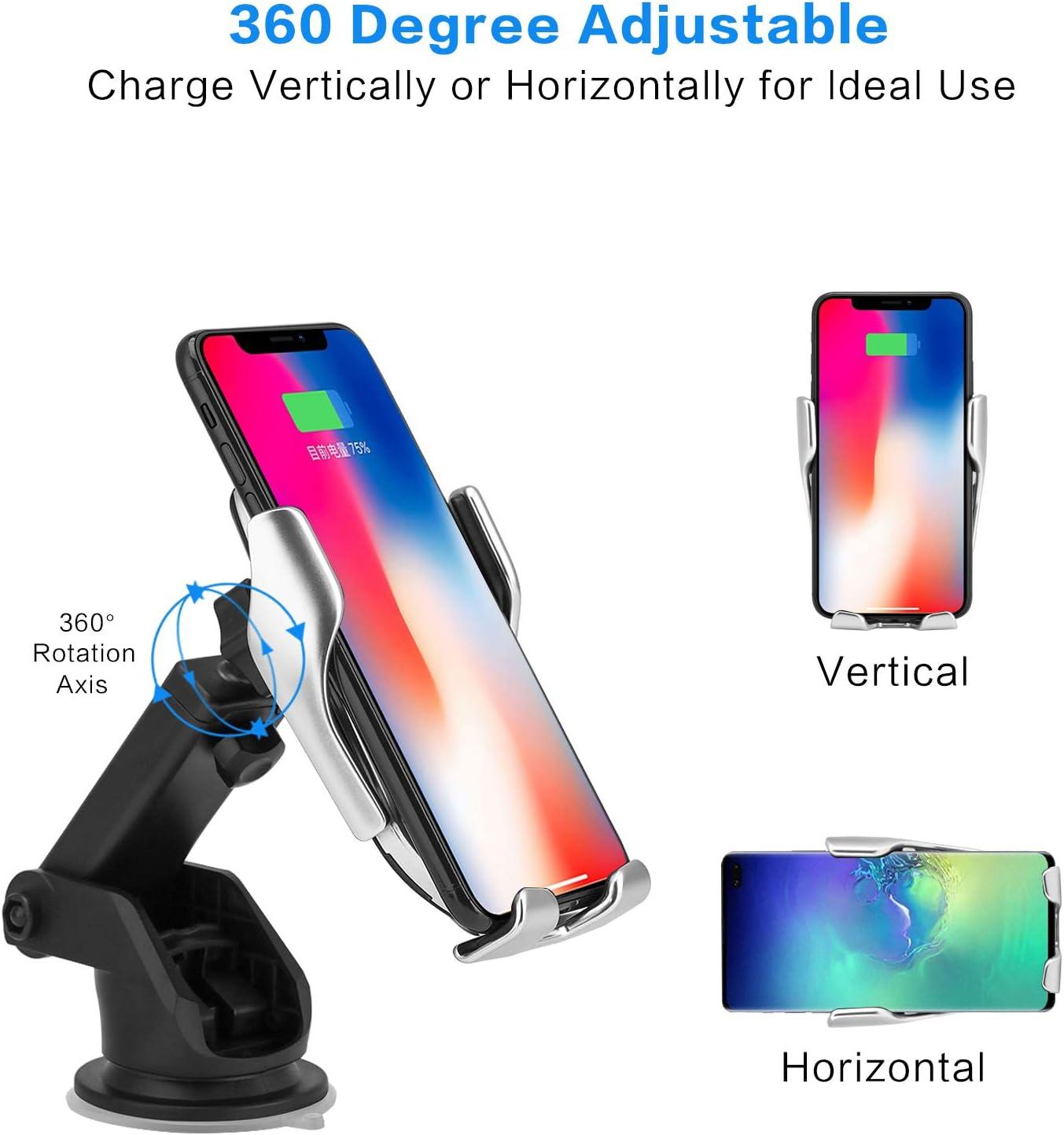 5W QI-Enabled Qi Cargador R/ápido Wireless Car Charger Soporte M/óvil 10W para Samsung S10//S10+//S9//S8//S8+//Note 8,7.5W para iPhone XS Max//XR//X//8//8 Plus Hinyx Cargador Inal/ámbrico Coche