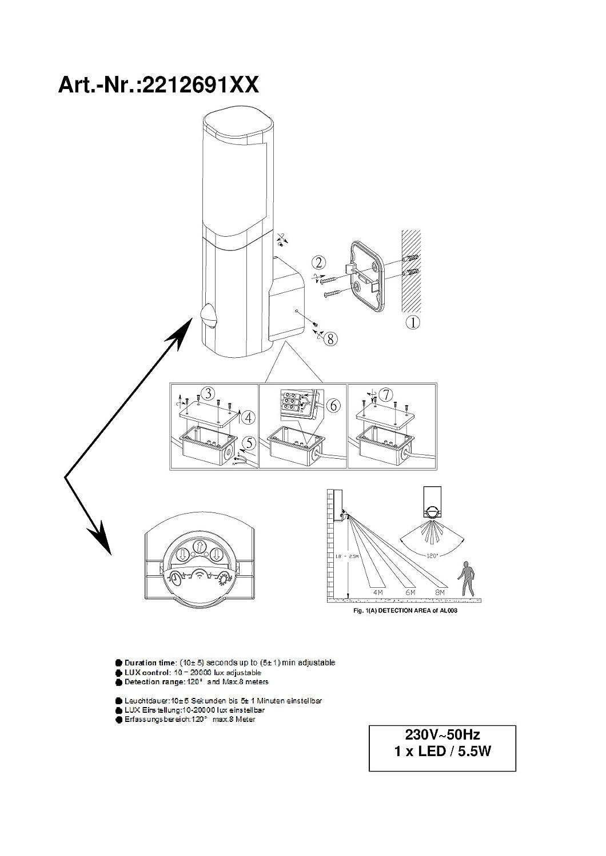 trio leuchten led aussen wandleuchte ticino aluminiumguss titanfarbig 221269187. Black Bedroom Furniture Sets. Home Design Ideas