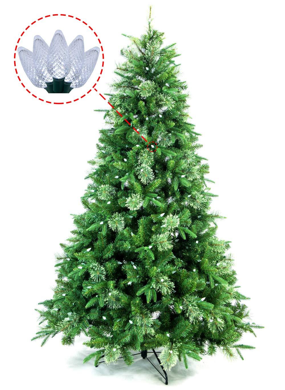 Amazon Com Abusa Artificial Christmas Tree Prelit 9 Ft Xmas Pine Tree With 1000 Led Lights 2063nch Tips Home Kitchen