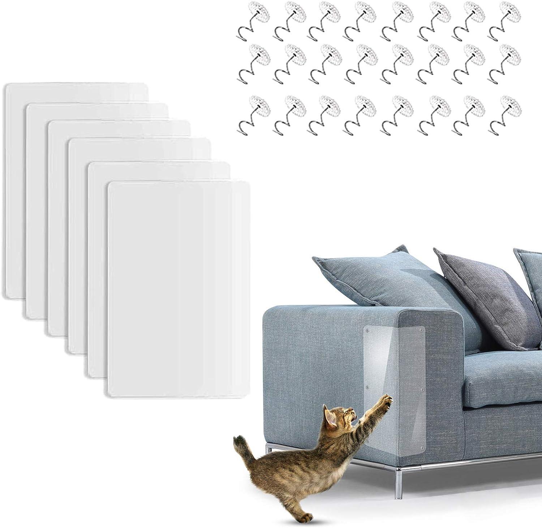 ETHEL Gato Protección contra Arañazos 6 Piezas Protector de Muebles Gatos Transparente Autoadhesivas contra Arañazos con 24 Tornillos, para Muebles, Sofa, Alfombra, Puertas