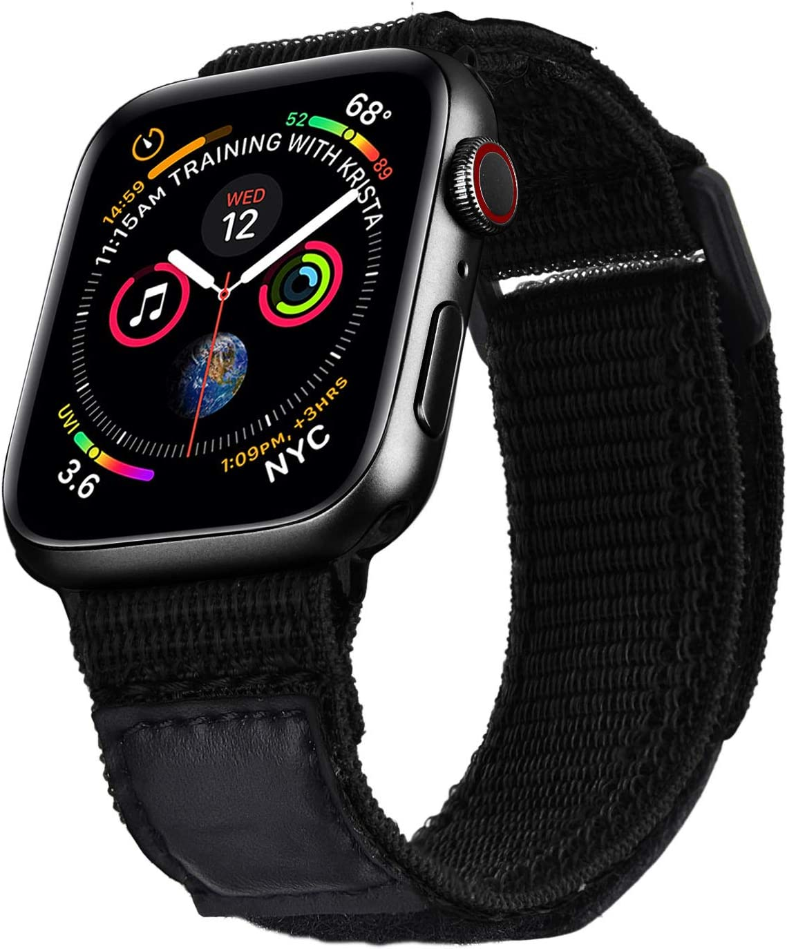 V-MORO Nylon Band Compatible with Series 6 5 44mm Apple Watch Bands 42mm, Men Women Soft Breathable Woven Loop Strap Replacement for iWatch Series SE 4 3 2 1 44mm 42mm Sport Black
