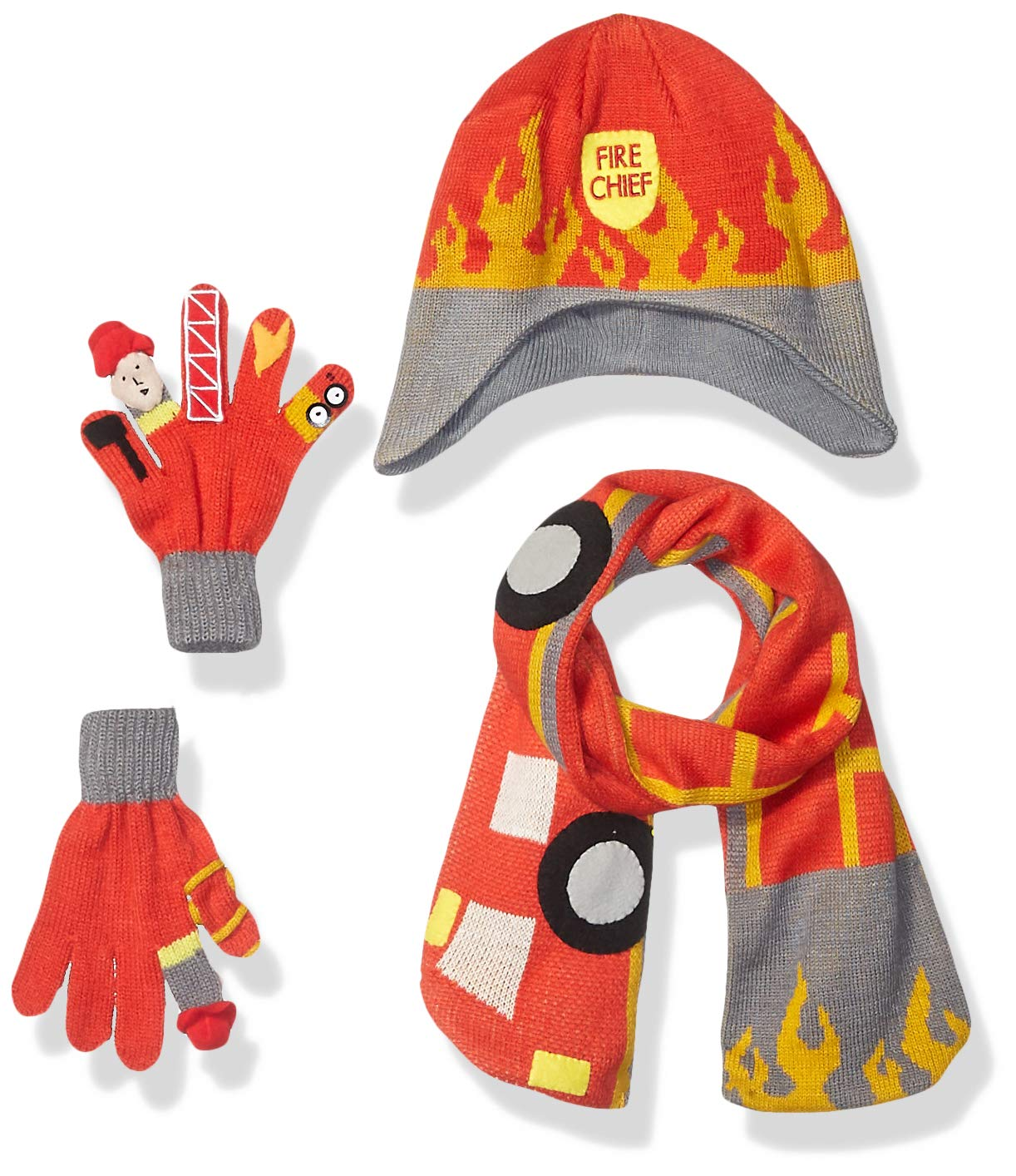 Kidorable Boys' Little Fireman Hat Scarf Set, Red, Small