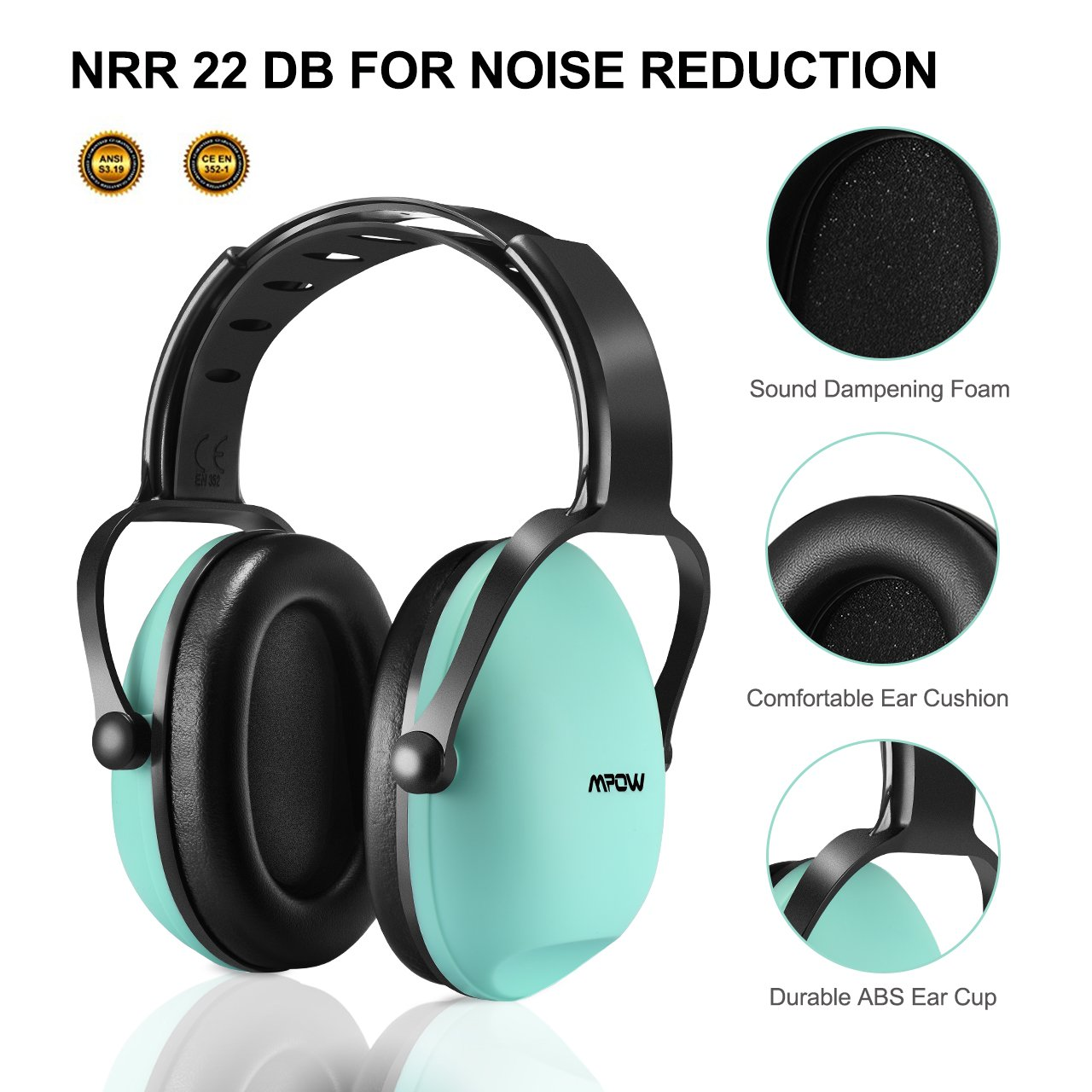 Mpow [Upgraded] Toddler Ear Protection Noise Cancelling Headphones for Kids, NRR 22dB Adjustable & Soft Kids Ear Protection for Shooting Range Hunting, Hearing Protection for Kids Toddlers Children by Mpow (Image #3)