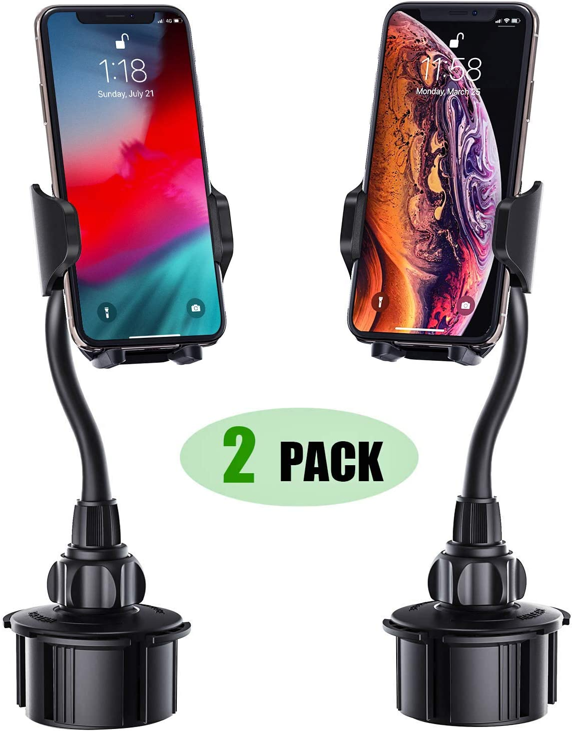 Cell Phone Holder for Car, [2 Pack] Adjustable Gooseneck Car Phone Mount Universal Cup Phone Holder Compatible with iPhone Xs XR X 8 8+ 7 7+ SE 6s 6+ 6,Galaxy S10 S9 S8 S7 S6 S5 S4 Note 10 9 8 LG etc