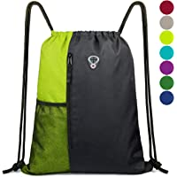 3c5ac6f9f92e Drawstring Backpack Sports Gym Bag for Women Men Children Large Size with  Zipper and Water Bottle