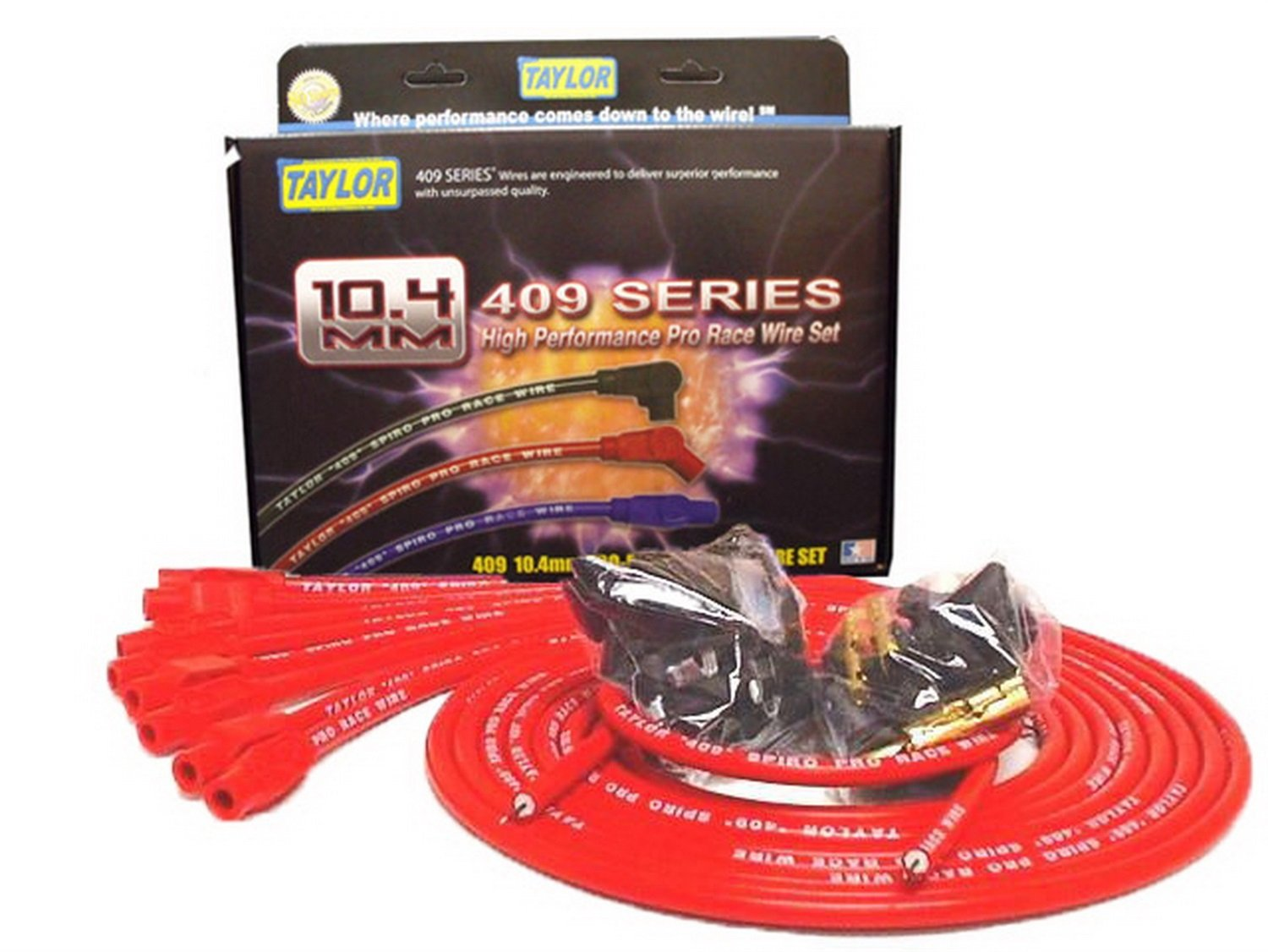 Taylor Cable 79255 Red 10.4mm Universal Fit 8-Cylinder Spiro Pro Race Spark Plug Wire Set