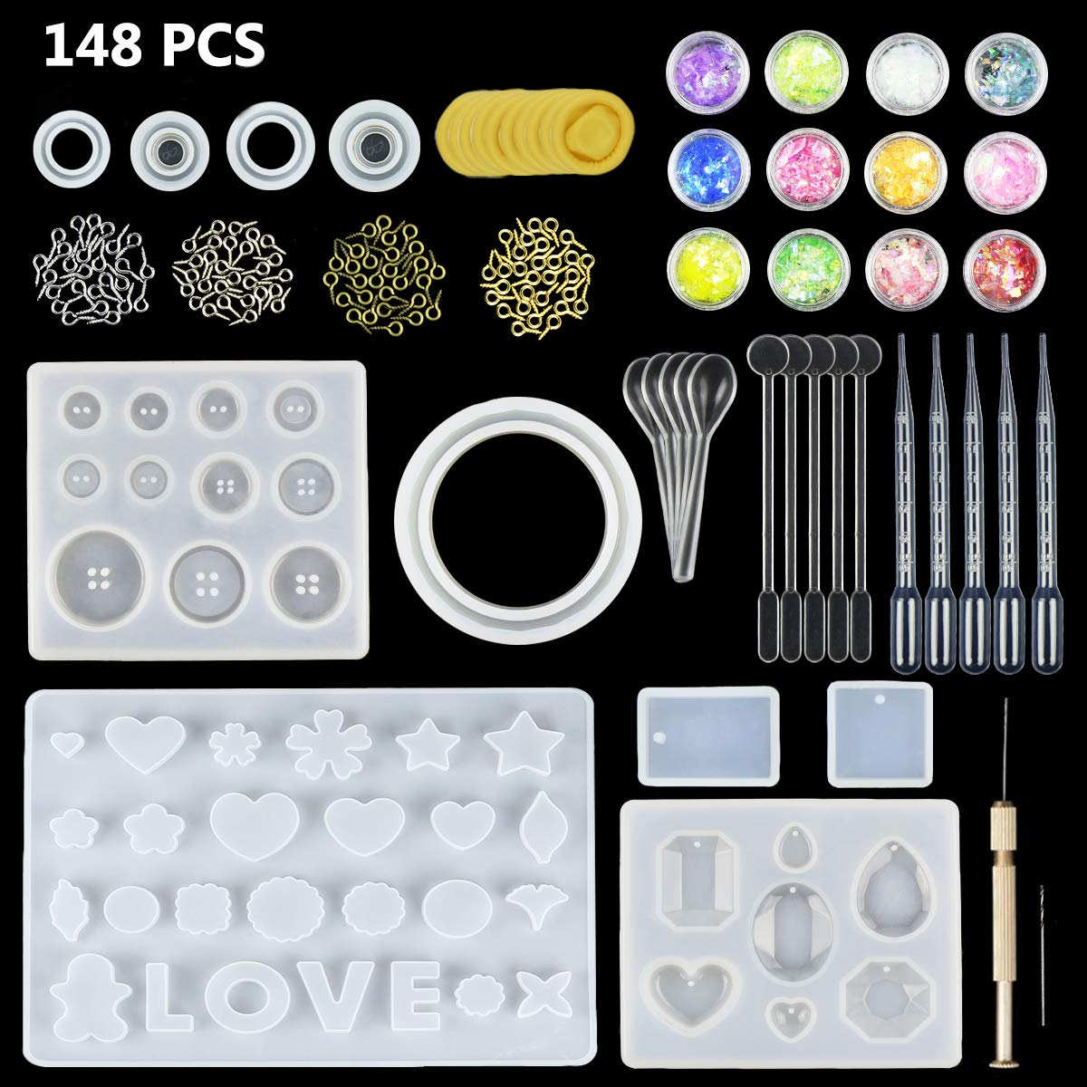 JOFAMY 10 Pack Jewelry Casting Molds Silicone Clear Molds for Resin with 100PCS Screw Eye Pins,5 Plastic Stirrers,5 Plastic Spoons,5 Plastic Droppers, Hand Twist Drill, Shell Paper Flakes& fingerstall E4ulife