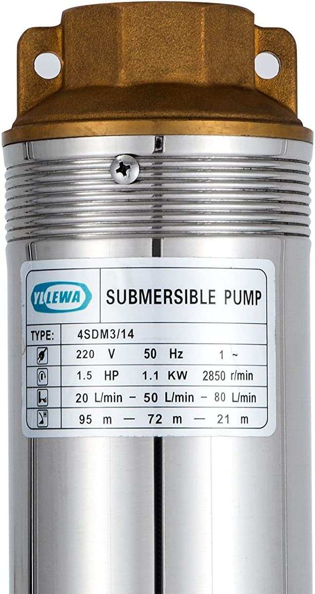 MosaicAL Deep Well Pump 4 inch Well Pump Deep Well Pump 1.1KW 1.5HP Stainless Steel Underwater Bore 220V 335ft Submersible Pump 40m Cable with Control Box 1.1KW 1.5HP