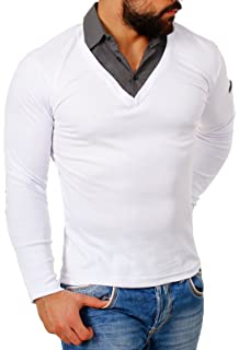 Coofandy Herren 2 in 1 Hemd Kragen Shirt Pullover Langarm mit tiefem V Ausschnitt einfarbig Slimfit Stretch