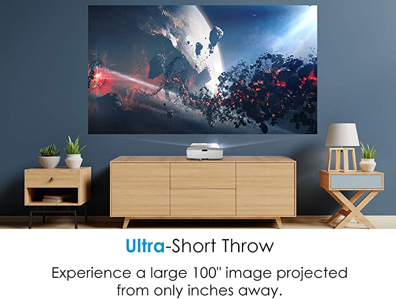 Optoma GT5600 Ultra Short Throw Gaming and Movie Projector, 3600 Lumens for Ambient Lighting, Easy Setup with Auto Keystone, 100-in Image from Only a Few Inches Away