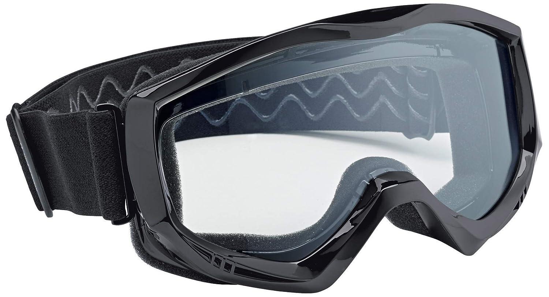 Motorradbrille schwarz gelb getönte Gläser schwarzer Rahmen SBR Kautschuk