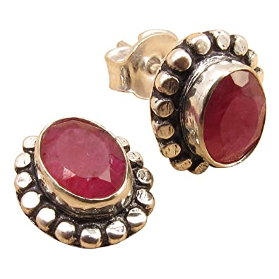71314f35c Image Unavailable. Image not available for. Color: INDIAN RUBY Gemstones  Designer Little Stud Earrings, 925 Sterling Silver ...