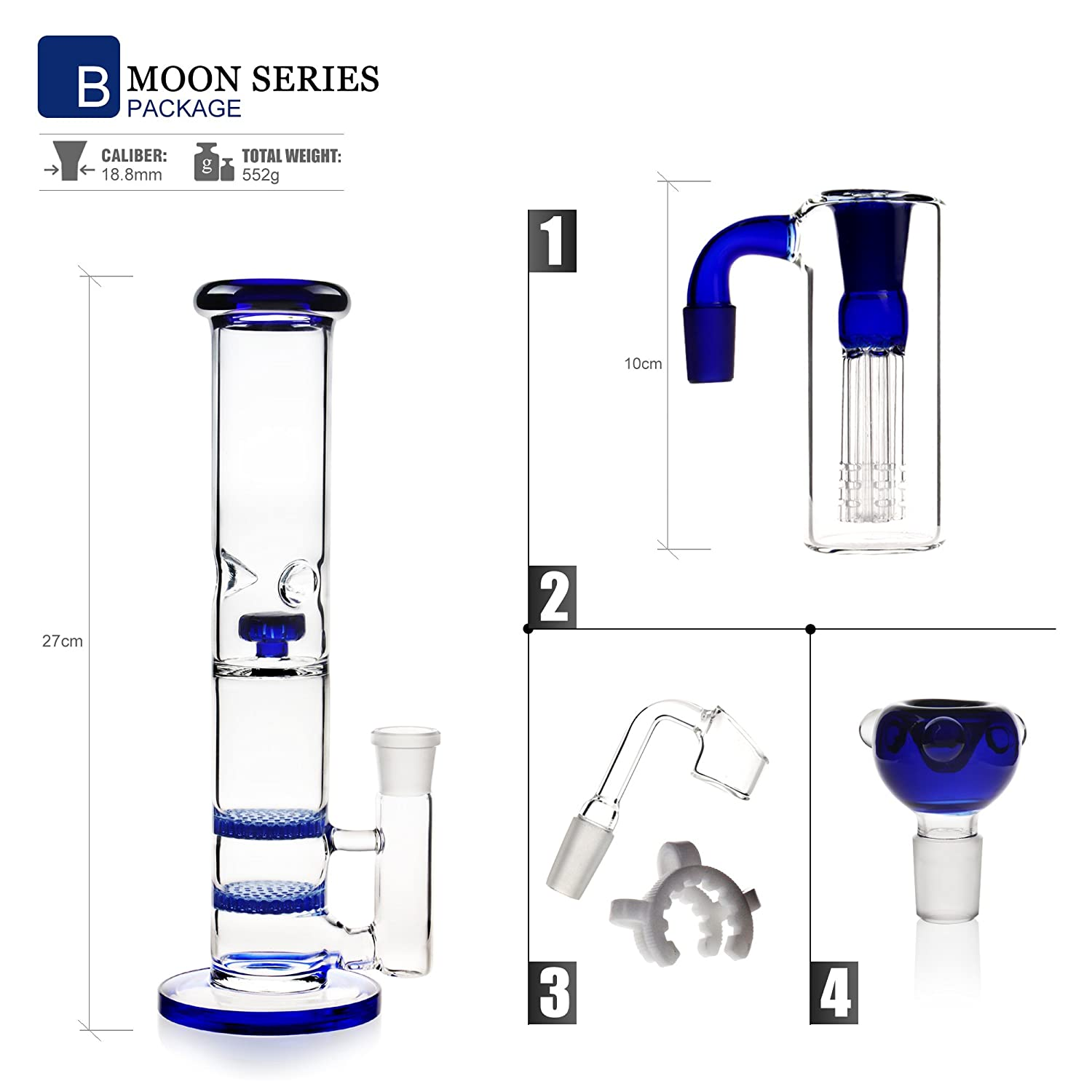 Recycler Glass Bongs hookah smoking bong 18.8mm bong bowl Height 27cm Straight Pipes Honeycomb Branch Cheap Bongs Water Oil Rigs With Accessories Blue MOON A REANICE