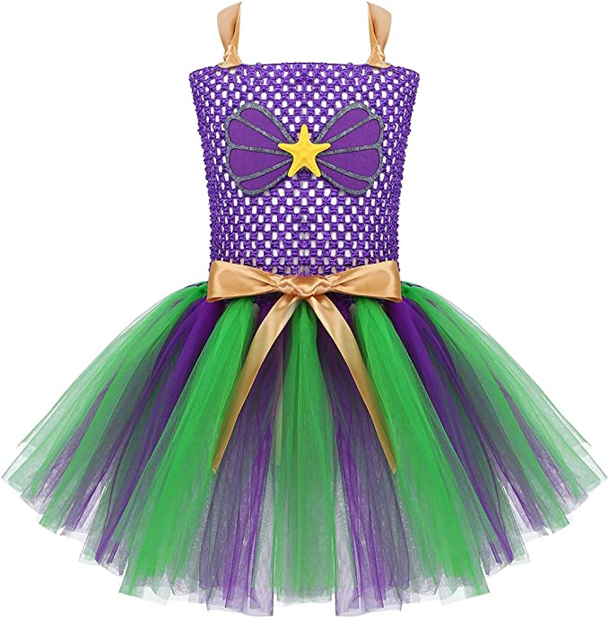 ranrann Vestido Tutú de Princesa Sirena para Niña Disfraz de ...