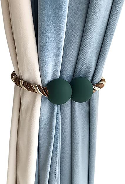 Ya Jin 2pcs Modern Simple Magnetic Retractable Curtain Drapery Buckle Holdbacks String Rope Tie Backs Dark Green Amazon Co Uk Kitchen Home