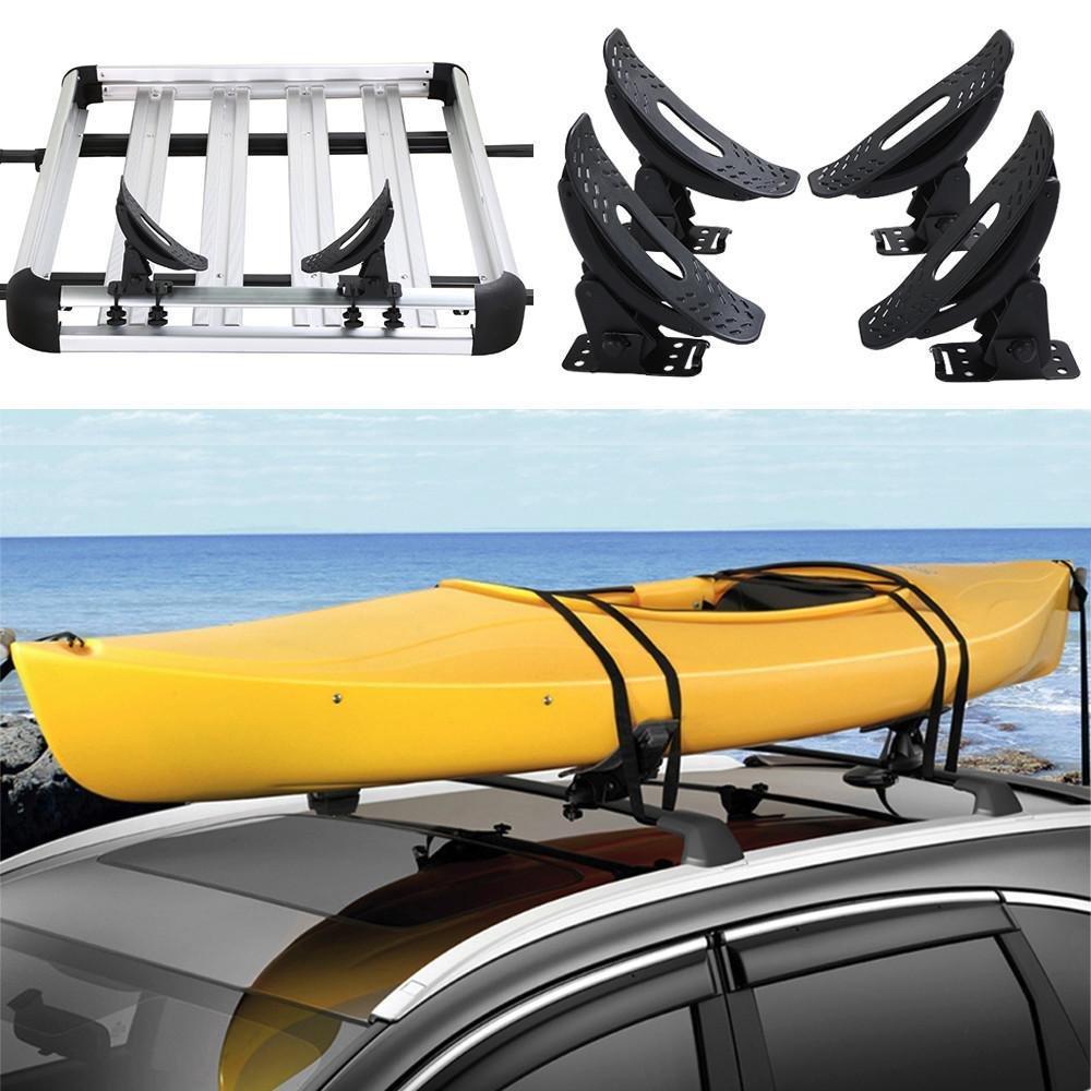 go2buy Kayak Carrier Roof Rack Canoe Boat Surf Ski Roof Top Mounted on Car SUV Crossbar, Load:154 Lb