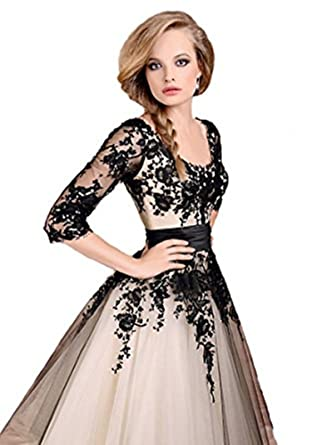 atopdress@w49 lace sleeve satin Ball Evening prom sequined gown dress (10, black