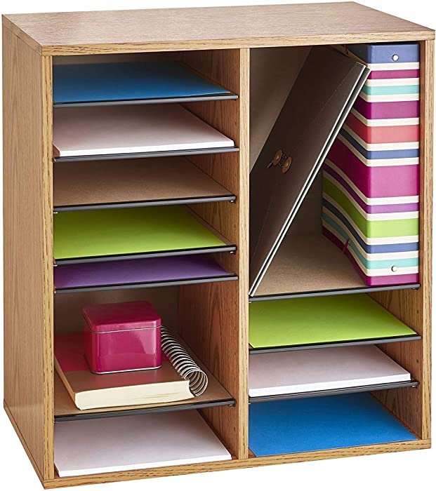 Safco Products Wood Adjustable Literature Organizer, 16 Compartment 9422GR, Medium Oak, Durable Construction, Adjustable Shelves