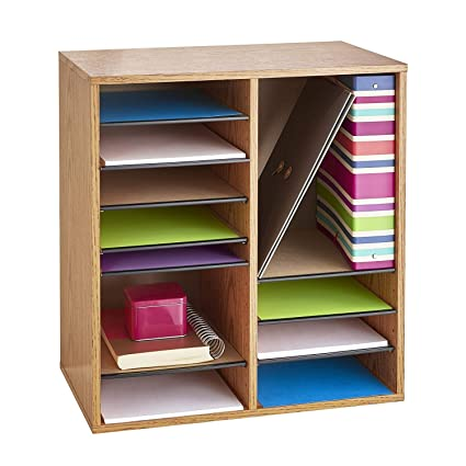 Safco Products Wood Adjustable Literature Organizer, 16 Compartment 9422GR,  Medium Oak, Durable Construction