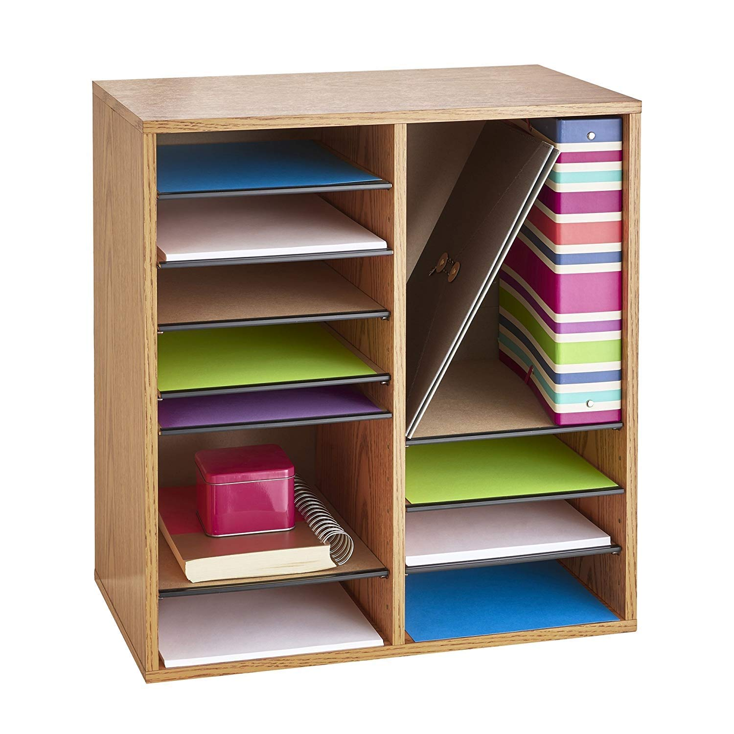Safco Products 9422MO Wood Adjustable Literature Organizer, 16 Compartment, Oak