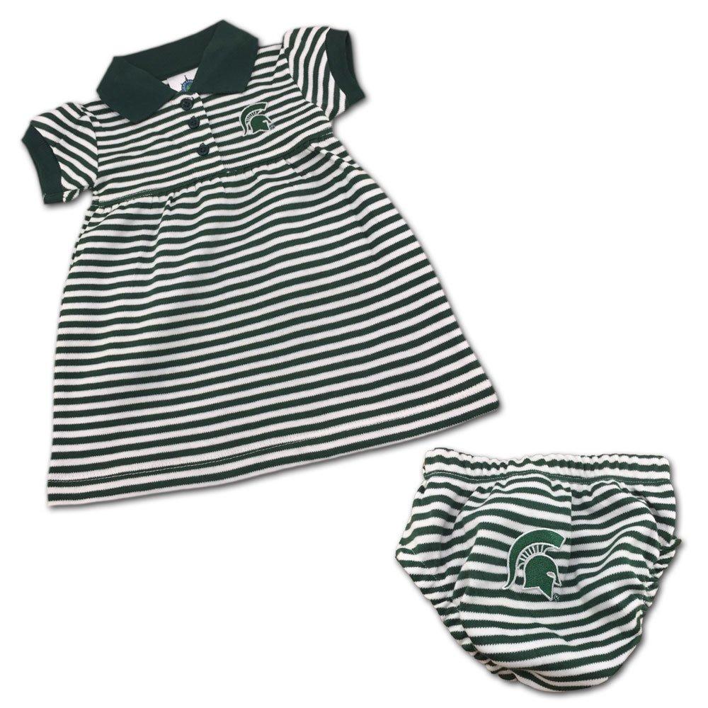 【超特価sale開催】 クリエイティブニットウェアMichigan State Dress University SpartansストライプGame 9 Day - Dress With Bloomer 6 - 9 Months グリーン/ホワイト B018W3WZCW, 西田さんご商:47313409 --- arianechie.dominiotemporario.com