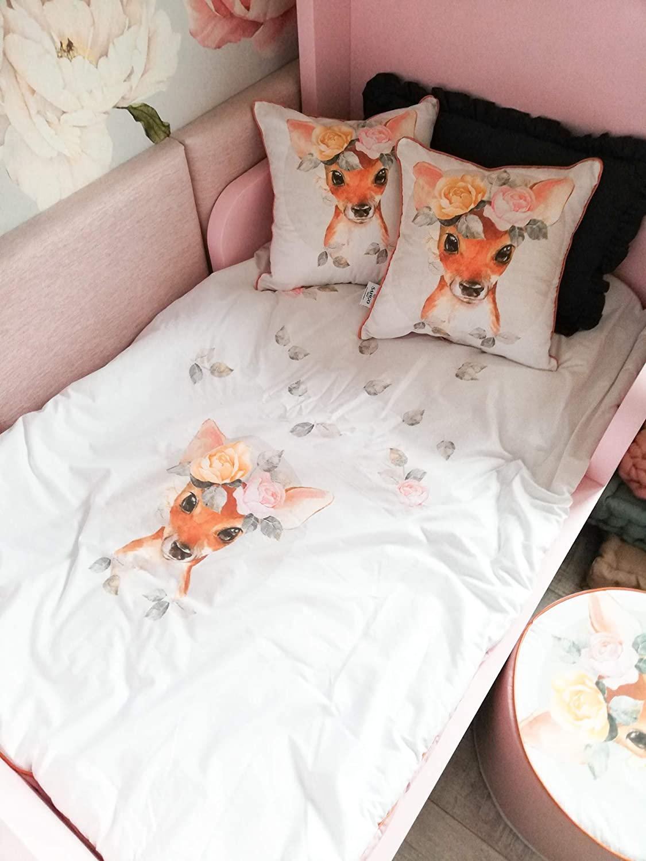 Sango Trade Parure de lit avec housse de couette et taie doreiller pour b/éb/é Motif cerf avec fleurs