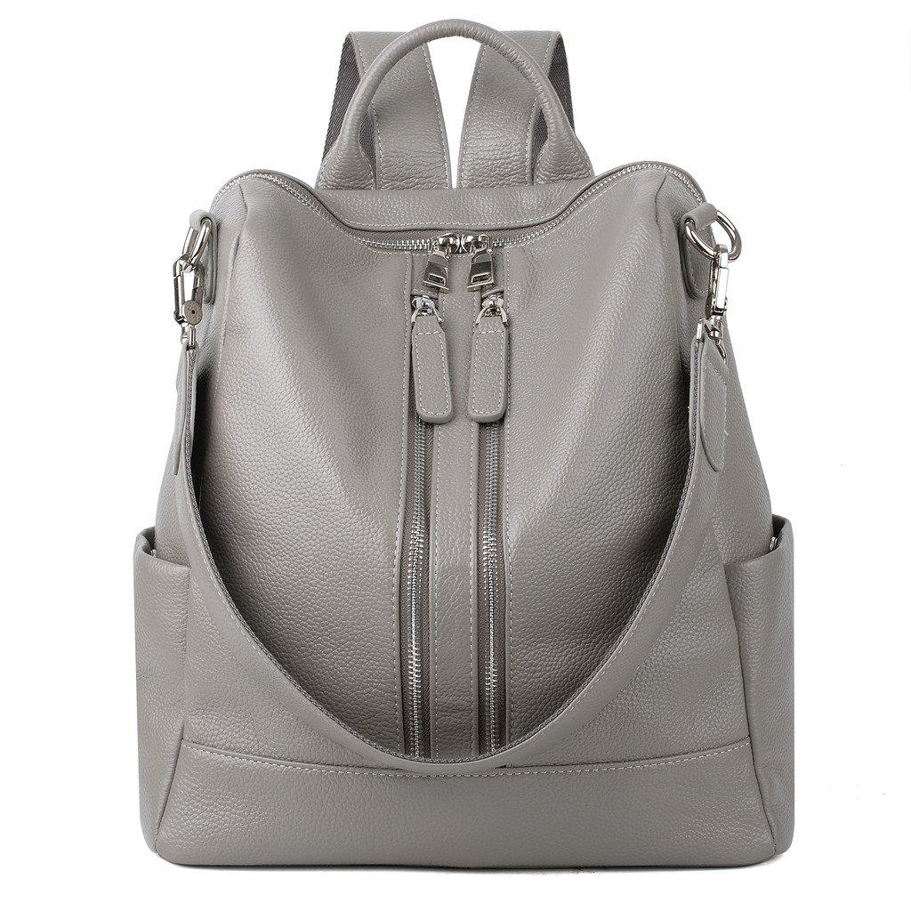YALUXE Women's Convertible Real Leather Backpack Versatile Shoulder Bag (Upgraded 2.0) Grey