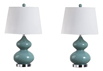 Safavieh Lighting Collection Eva Marine Blue Double Gourd 24 Inch Table Lamp  (Set Of