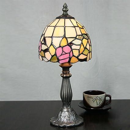 Gweat Lámpara de Mesa de Cristal de Sombra de Color Retro de ...