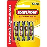 Pilha, Rayovac, Pilha Zinco ou Comum As Amarelinhas 10315, Amarelo, AAA, Palito, pacote de