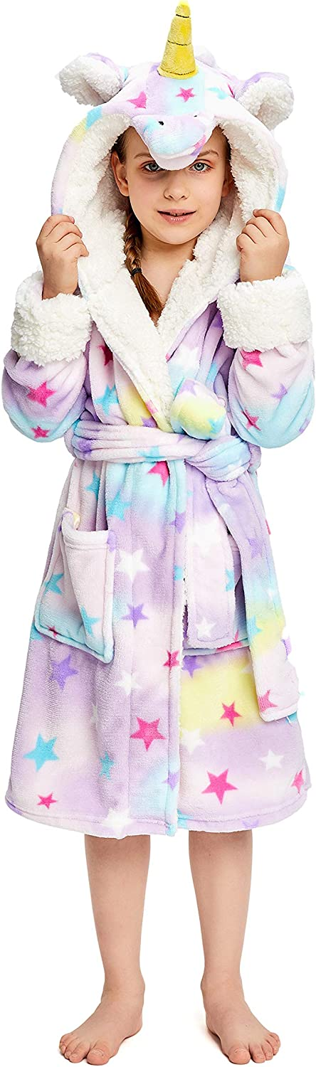 NEWCOSPLAY Unisex Kids Unicorn Plush and Soft Fleece Bathrobe: Clothing