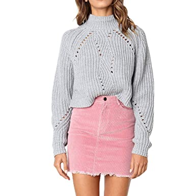 Casual Femmes Roiper En Section Col Pull Manches Vrac Longues Rond rxoBdeCW