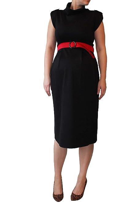 Cinturón de maternidad vestido negro, rojo, Midi longitud vestido, algodón suave tejido de