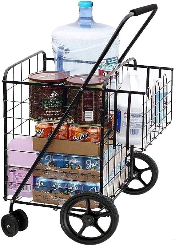 MOD Complete Double Basket Heavy-Duty Flat Folding Shopping Cart w/ Front Swivel Wheels