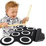 Ensemble Roll-Up de batterie électronique avec prise MIDI par TimeCollect, pédale de contrebasse, haut-parleur intégré Casque d'écoute pour les débutants de pratique Kids