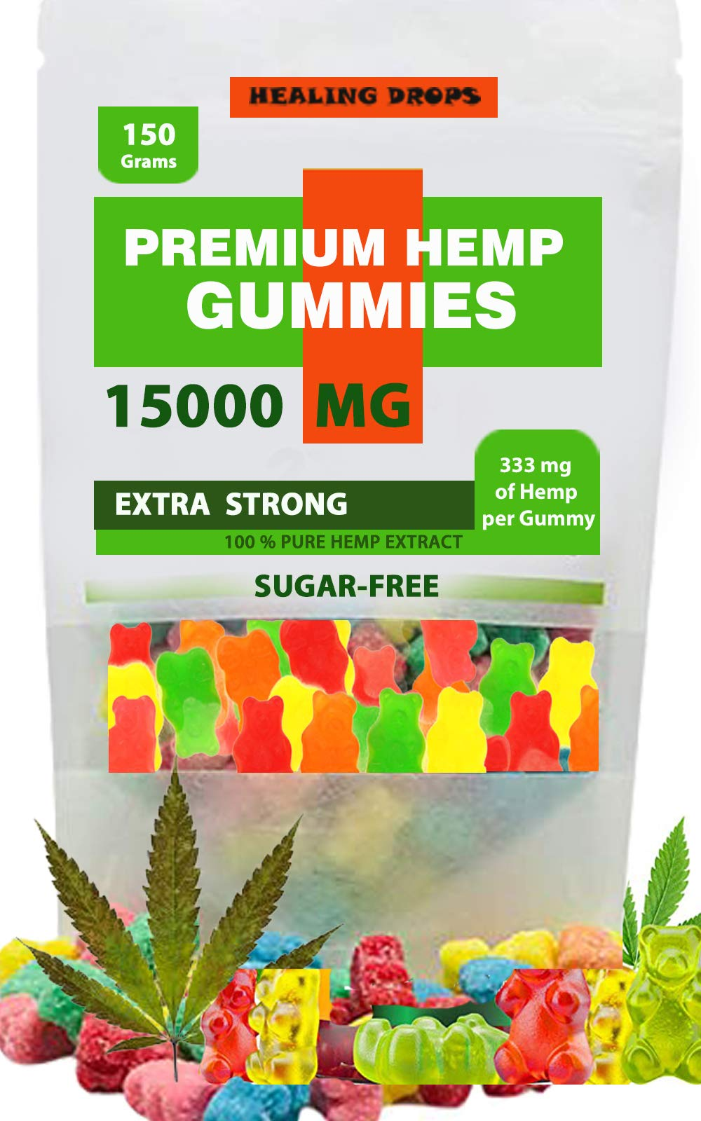 Premium Organic Hemp Sugar-Free Gummies Natural Health Support 15000MG, 166MG Each, High Potency Relaxing, Stress & Anxiety Relief Rich in Vitamins B, E, C, D, Omega 3, 6, 9 Super Friendly Gummy Bears by Healing Drops