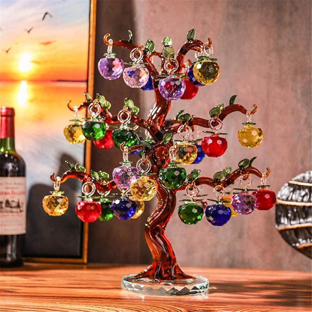 Crystal Apple Tree Ornaments 36Pcs 18Pc Hangs Apples Glass Fengshui Crafts Home Decor Figurines Christmas New Year Gift Souvenir amber 36 hangs
