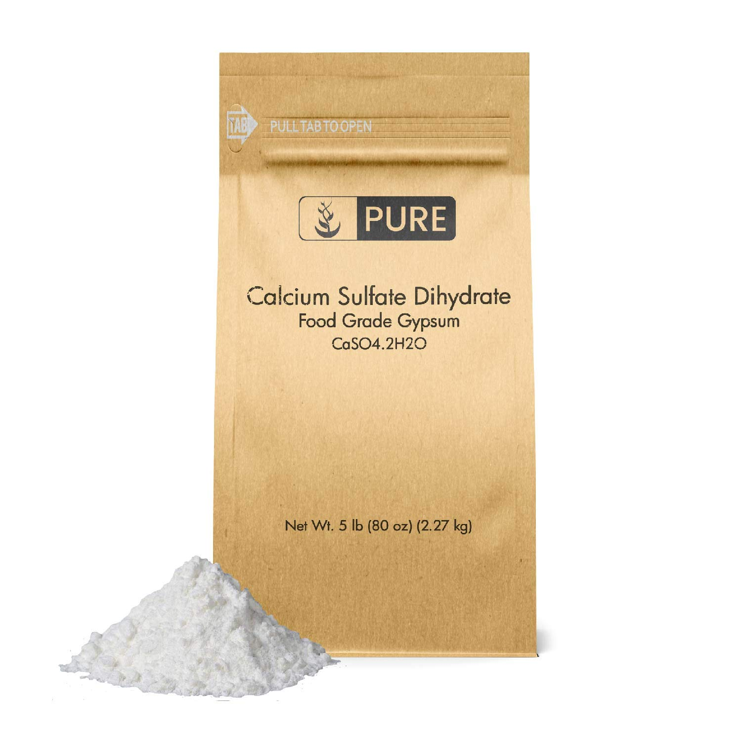 Calcium Sulfate (Gypsum) (5 lb.) by Pure Ingredients, Eco-Friendly Packaging, for Multiple Uses Including Baking, Water Treatment, and Gardening